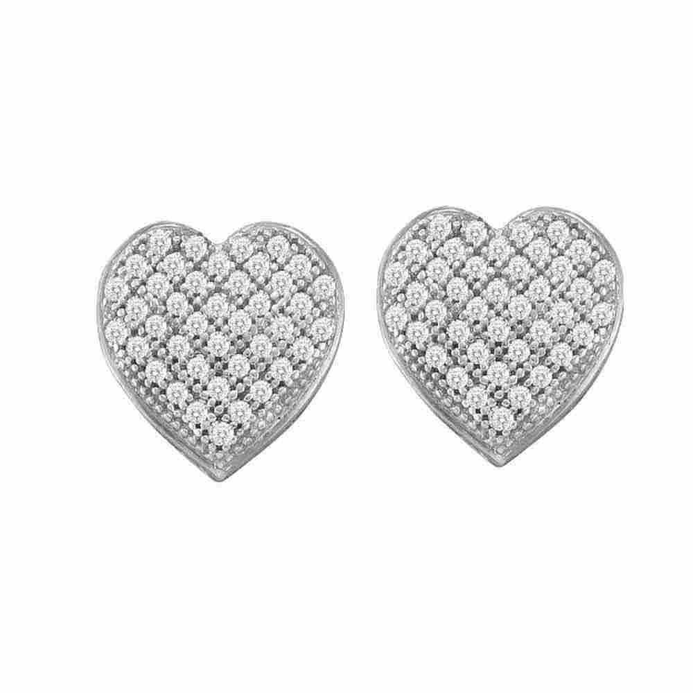 10kt White Gold Womens Round Diamond Heart Cluster