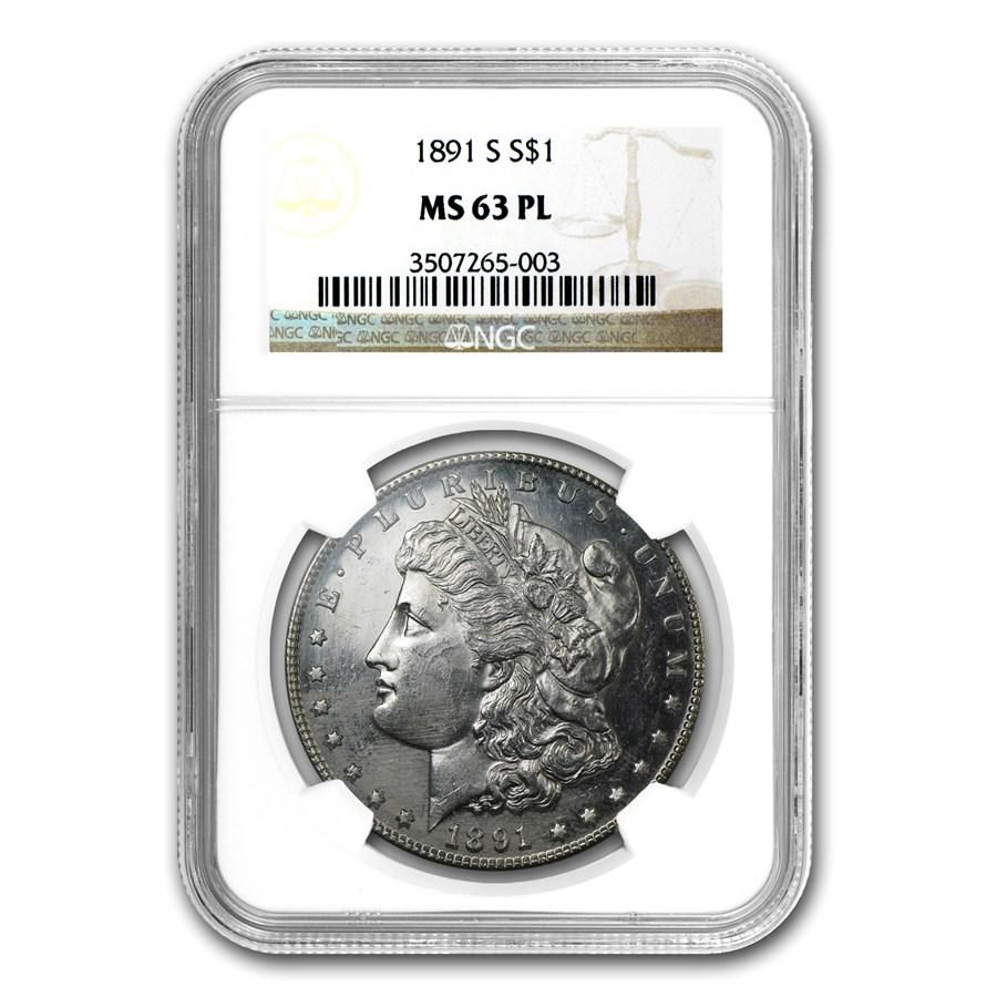 1891-S Morgan Dollar MS-63 PL NGC
