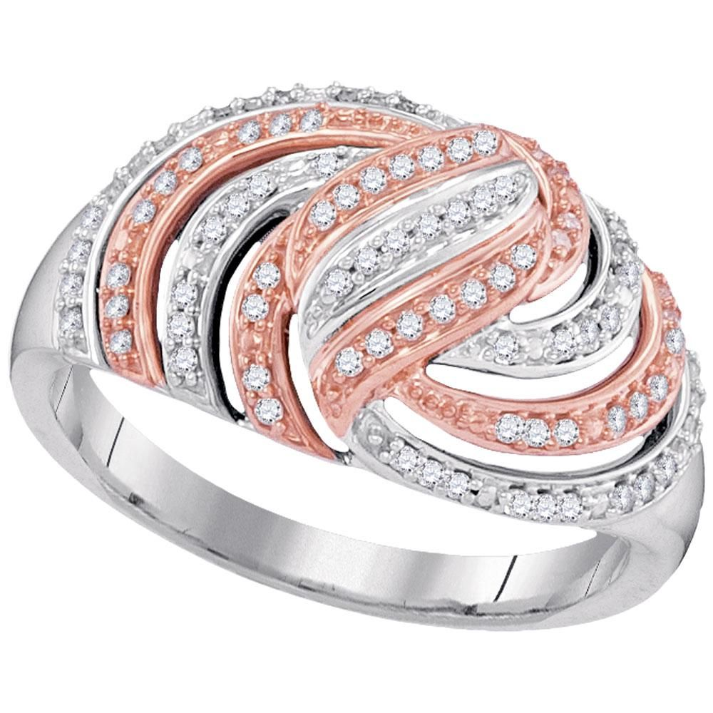 10kt White Gold Womens Round Diamond Striped Rose-tone