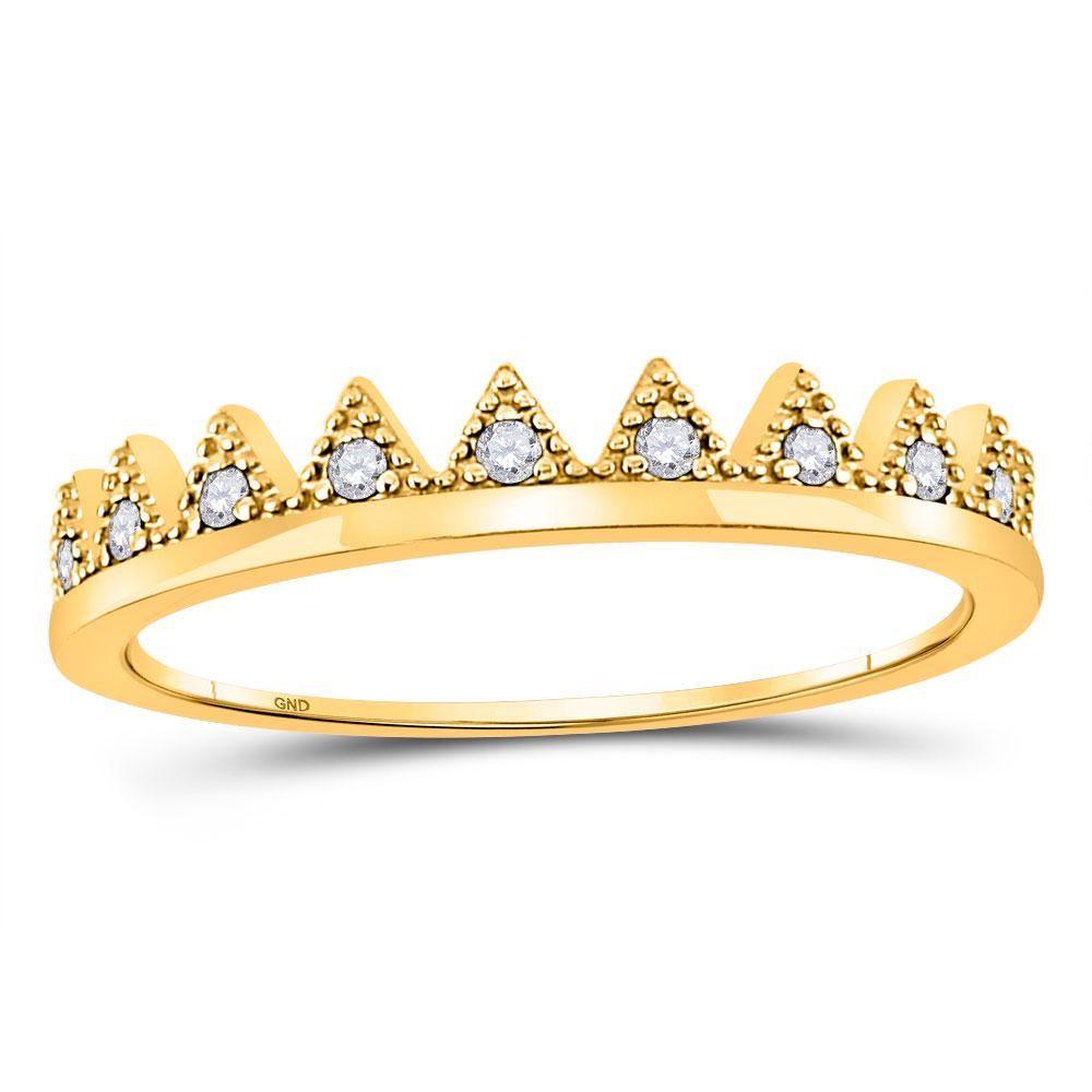 10kt Yellow Gold Womens Round Diamond Chevron Stackable