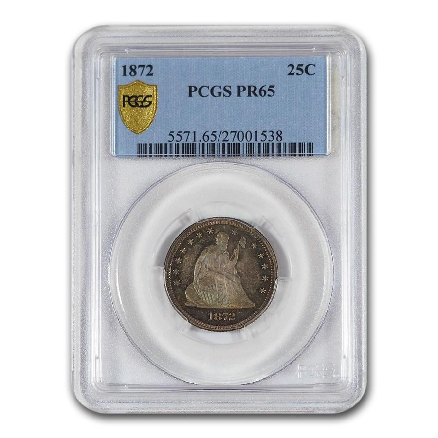 1872 Liberty Seated Quarter PR-65 PCGS