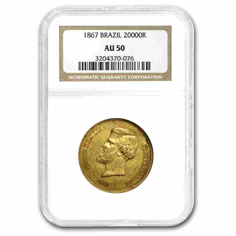 1867 Brazil Gold 20,000 Reis Pedro II AU-50 NGC