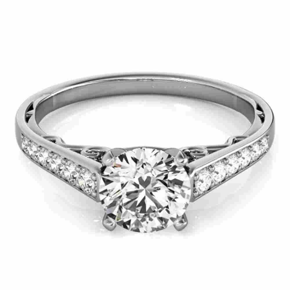 Natural 0.85 ctw Diamond Solitaire Ring 14k White Gold