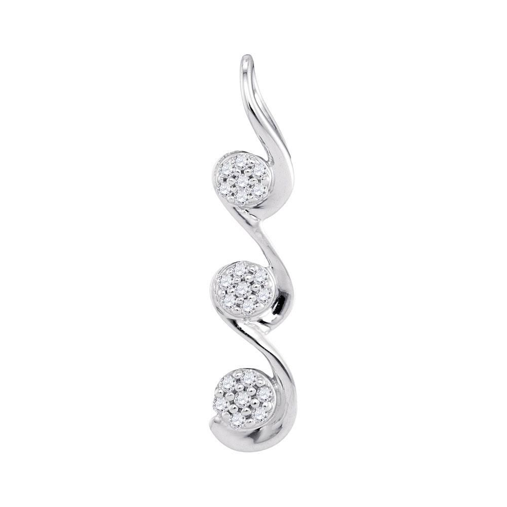 10kt White Gold Womens Round Diamond Triple Cluster