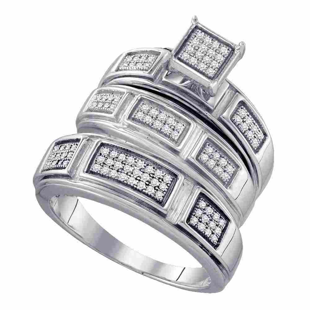 Sterling Silver His Hers Round Diamond Cluster Matching