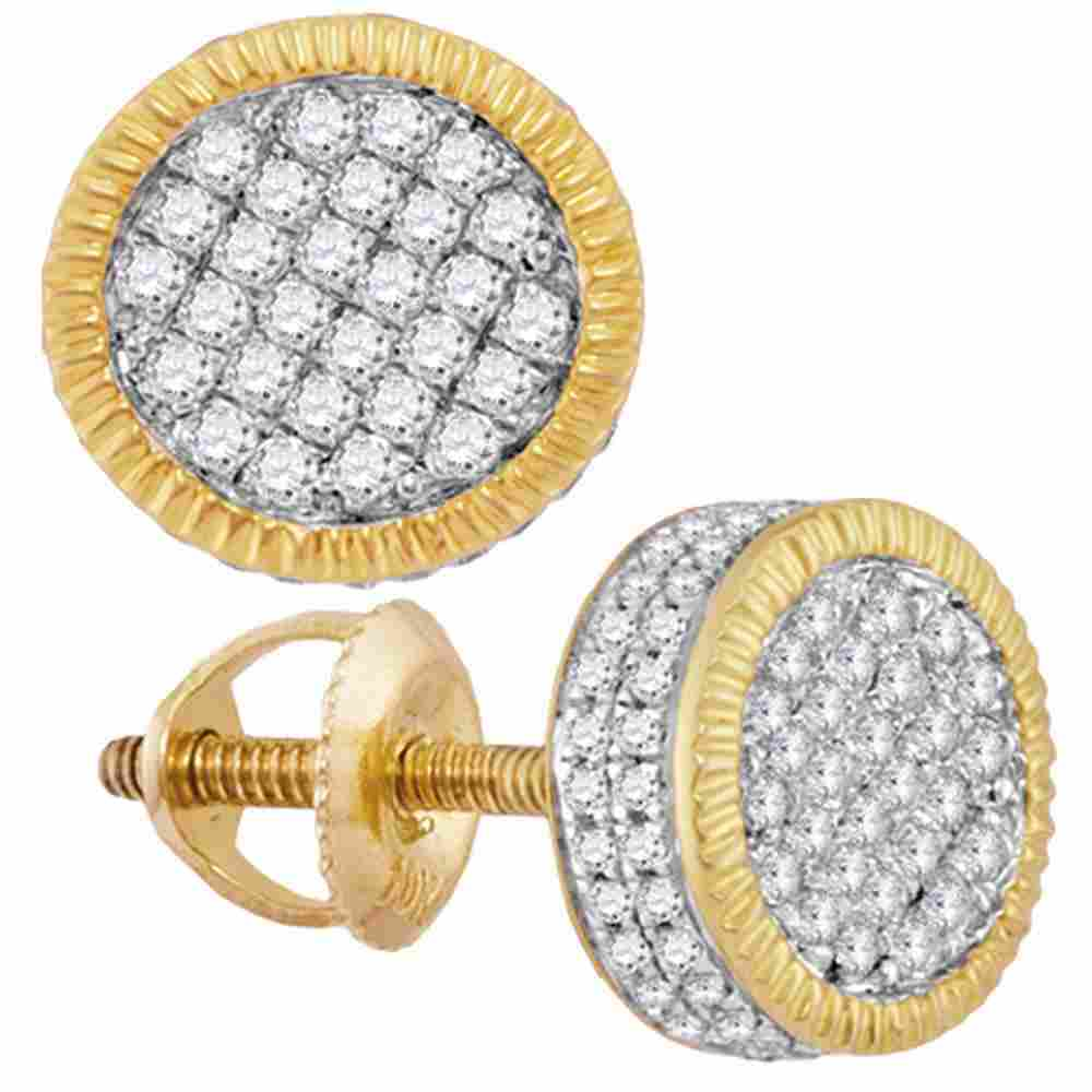 10kt Yellow Gold Mens Round Diamond Fluted Circle