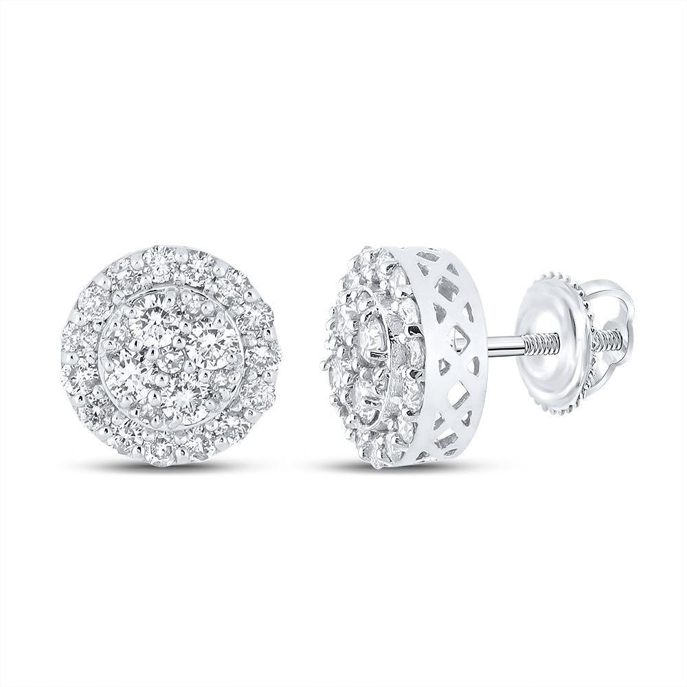 10kt White Gold Mens Round Diamond Cluster Earrings 7/8