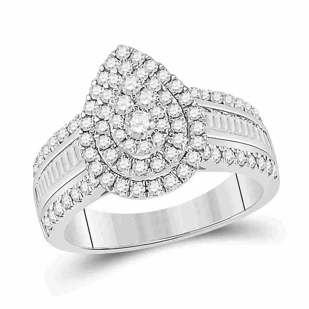 14kt White Gold Womens Round Diamond Pear-Shape Cluster