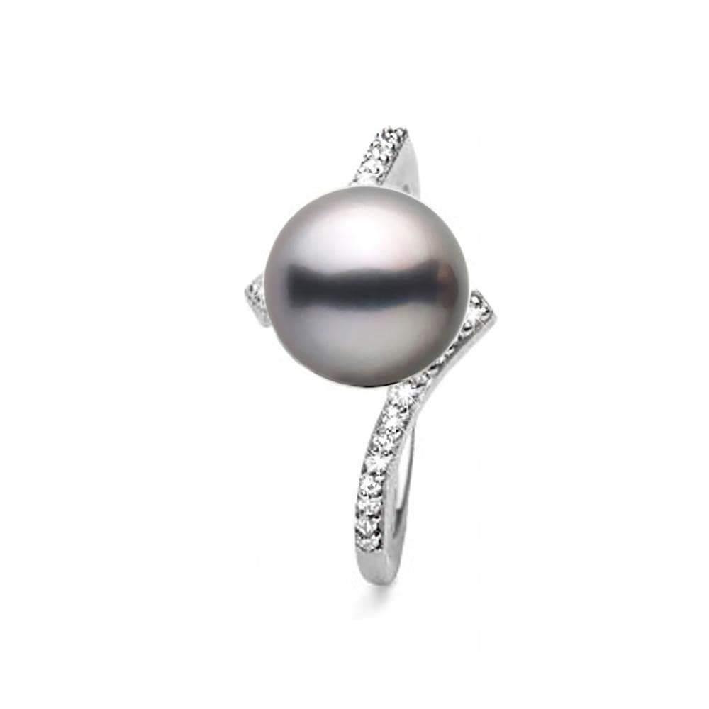 Black Tahitian Pearl and Diamond Bliss Ring