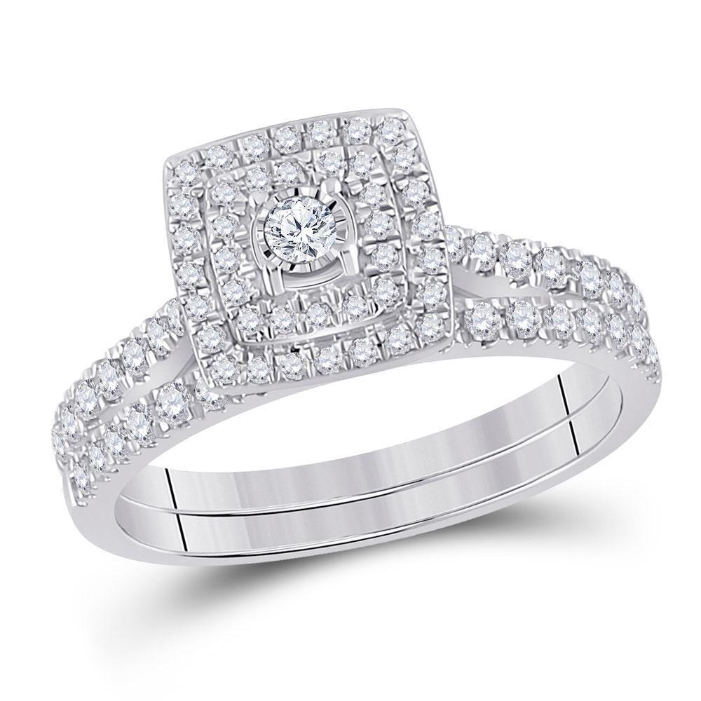 10kt White Gold Round Diamond Halo Bridal Wedding Ring