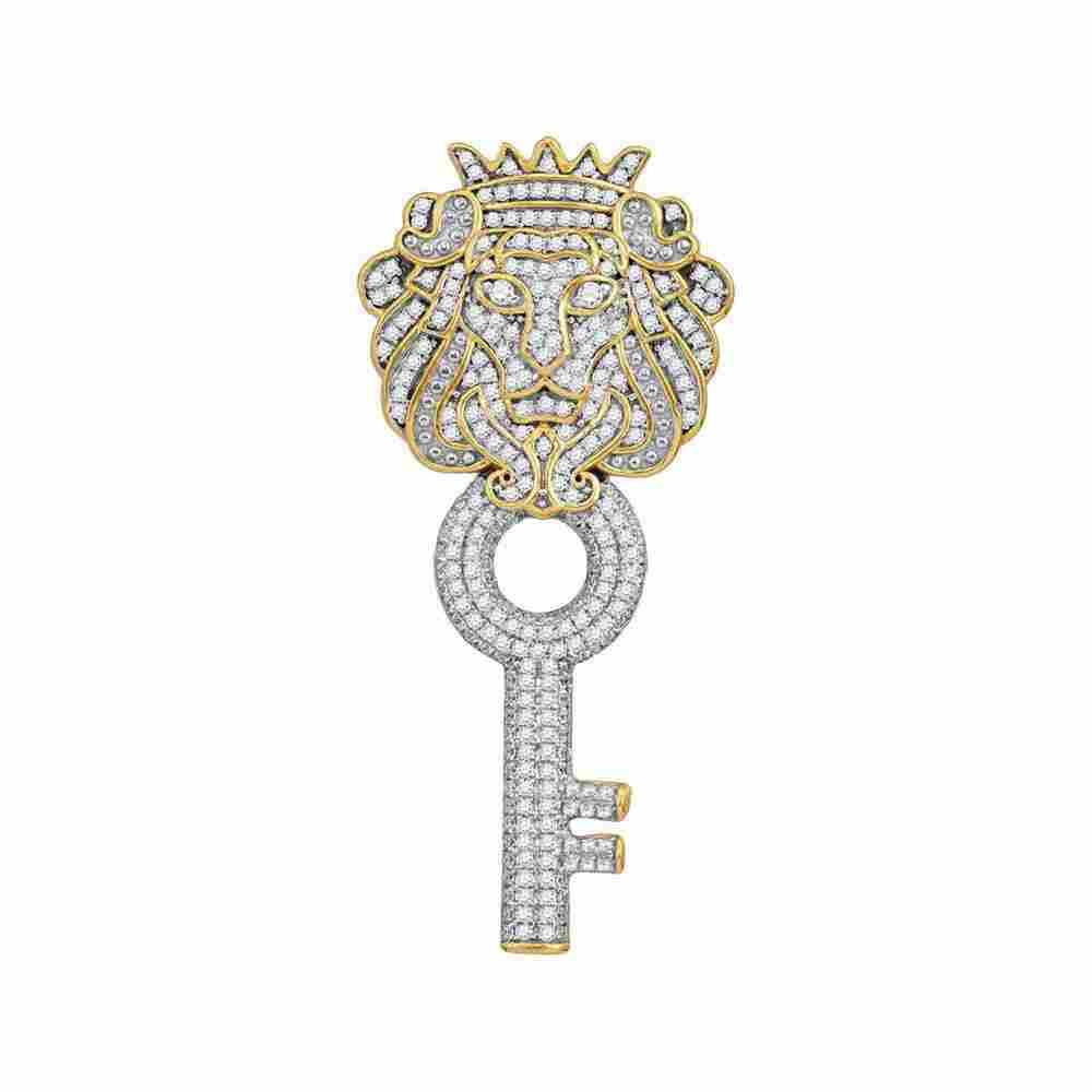 10kt Yellow Gold Mens Round Diamond King Lion Key Charm