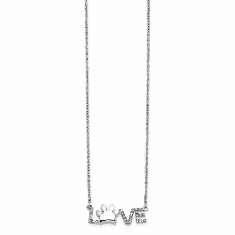 14k White Gold .112ct Diamond Paw Print Love Necklace -