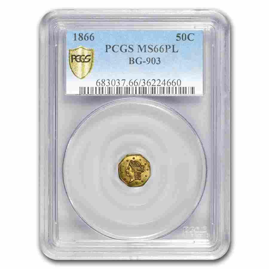 1866 Liberty Octagonal 50 Cent Gold MS-66 PL PCGS