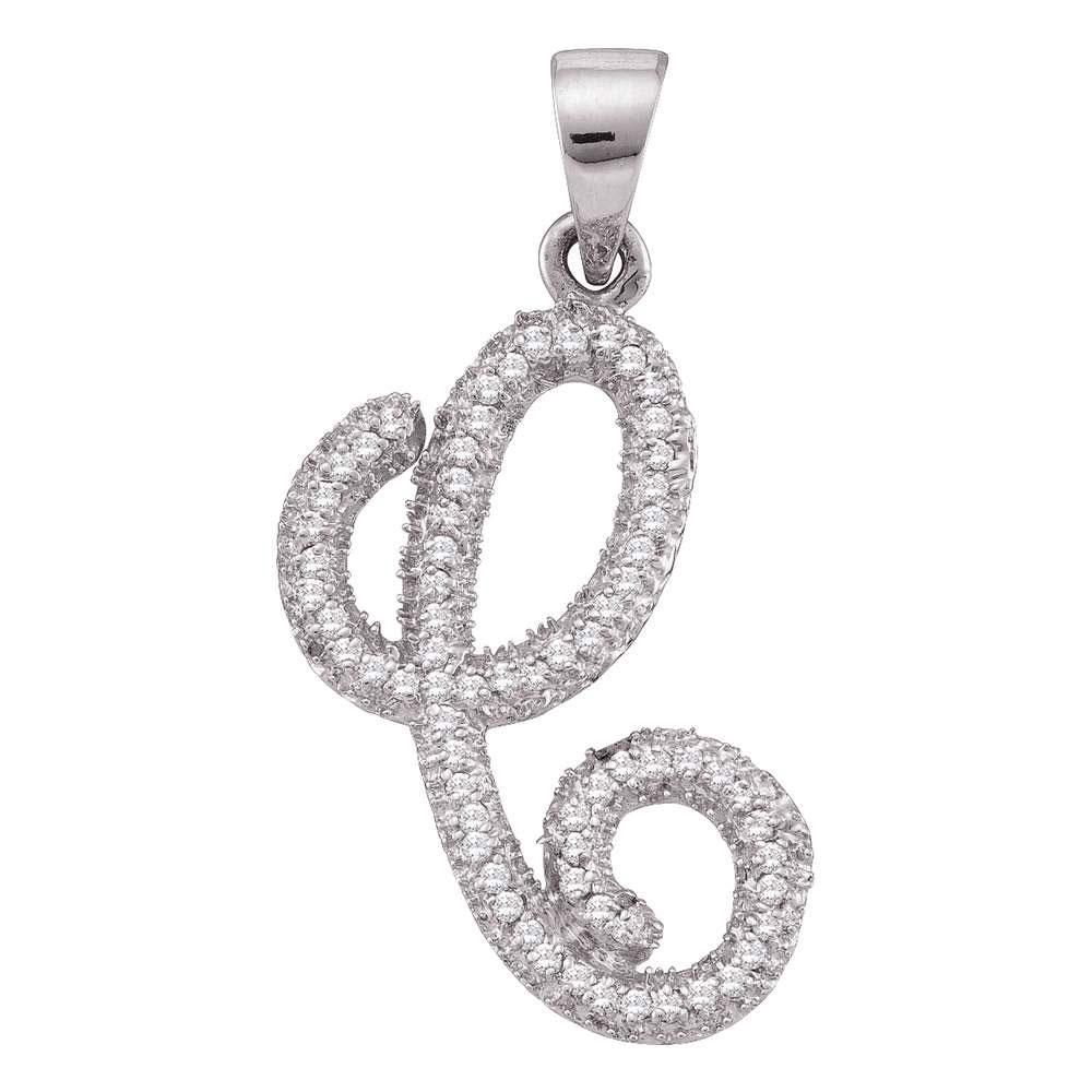 10kt White Gold Womens Round Diamond Cursive Letter C