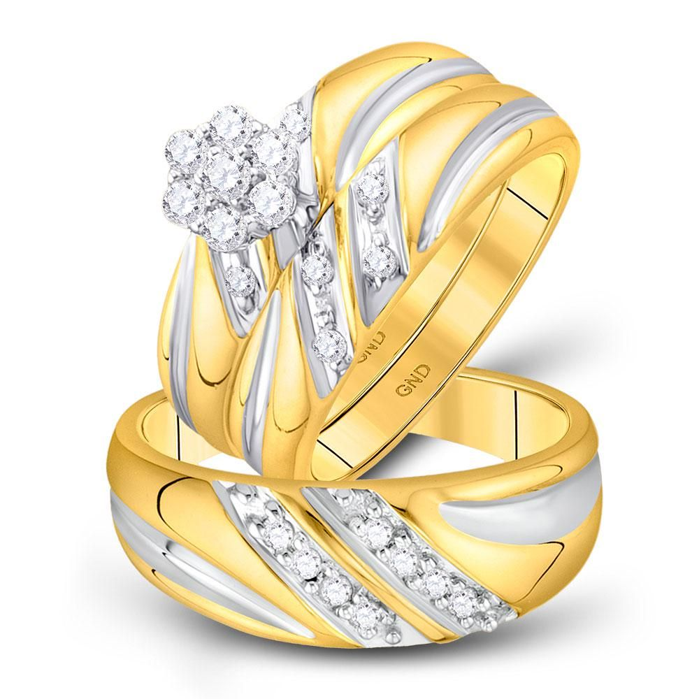 10kt Yellow Gold His Hers Round Diamond Cluster