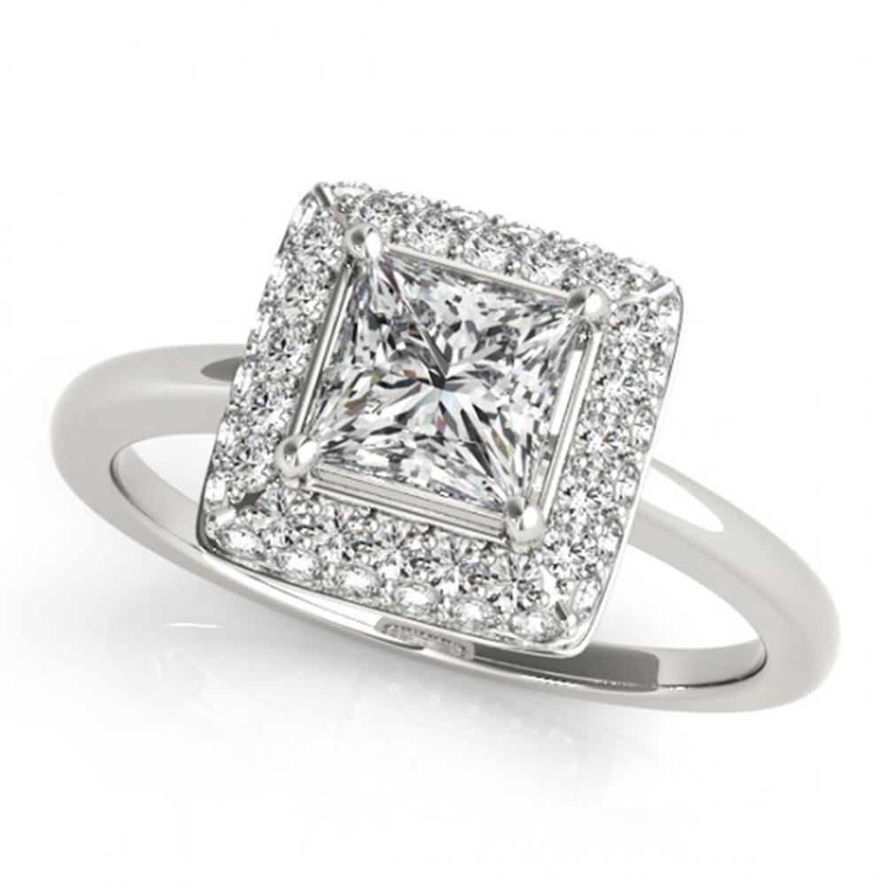 Natural 0.8 ctw Princess Diamond Halo Ring 14k White
