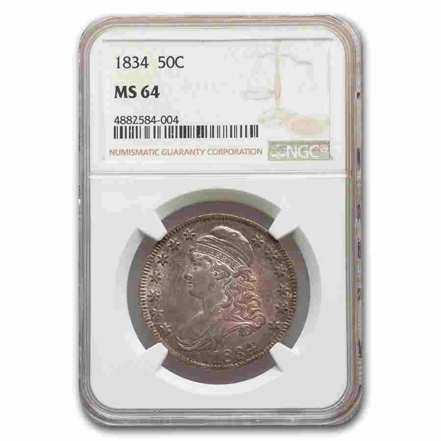 1834 Capped Bust Half Dollar MS-64 NGC