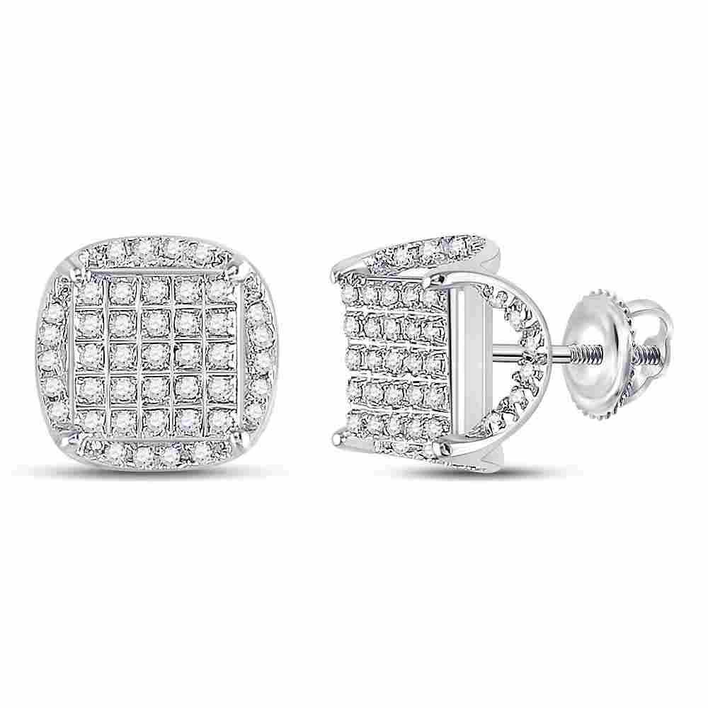 10kt White Gold Mens Round Diamond Square Stud Earrings