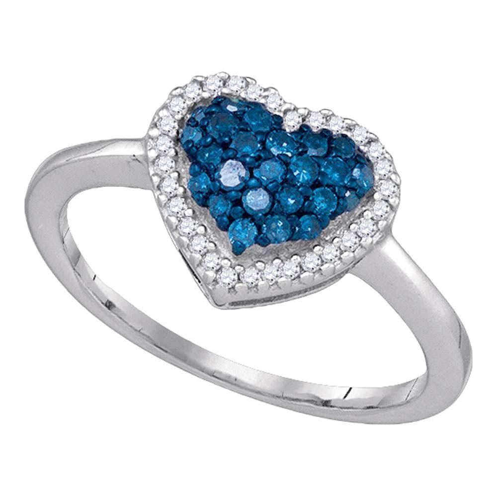 10k White Gold Womens Blue Color Enhanced Diamond Heart
