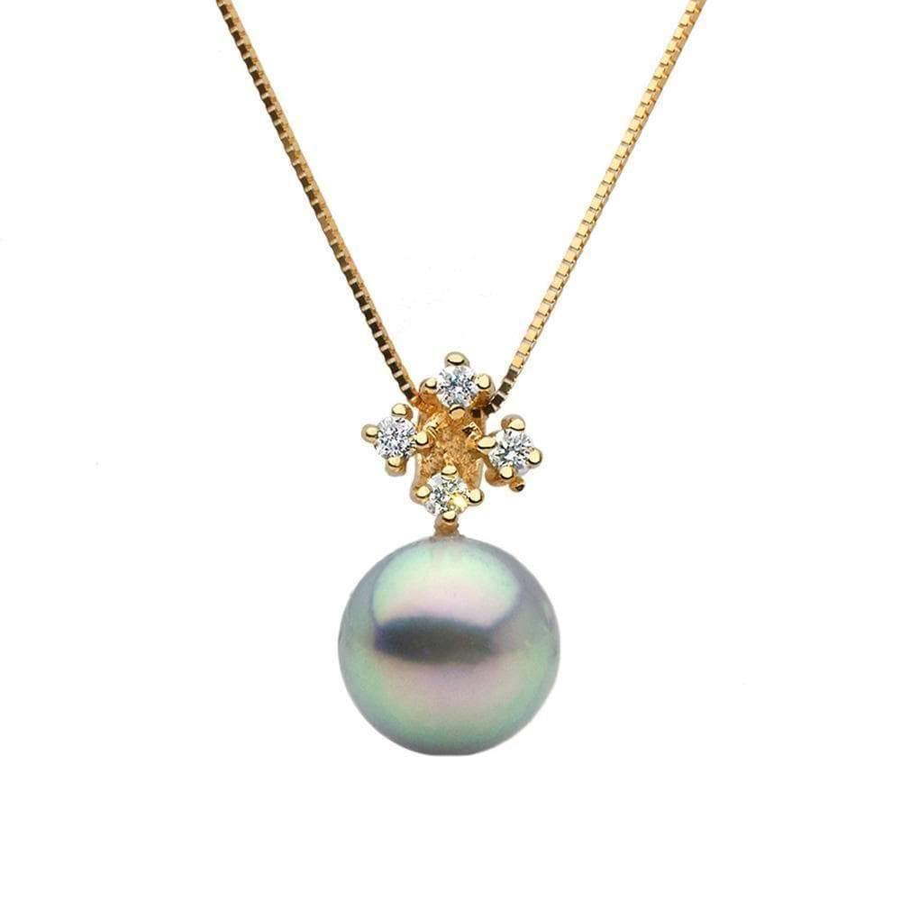 Blue Akoya Pearl and Diamond Elsa Pendant