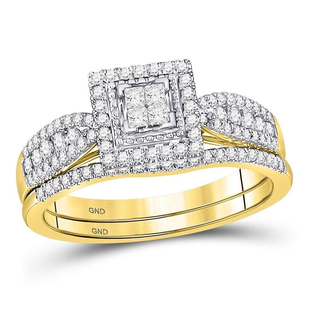 10kt Yellow Gold Princess Diamond Bridal Wedding Ring