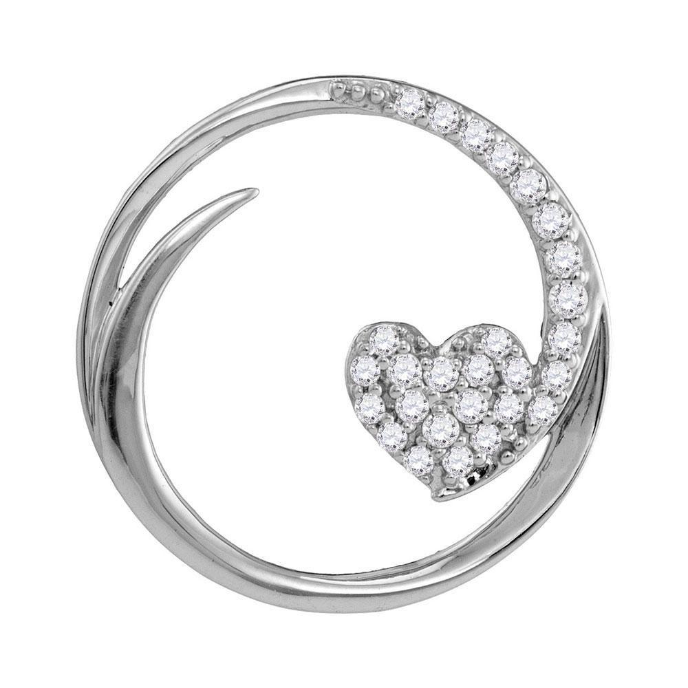 10kt White Gold Womens Round Diamond Heart Circle
