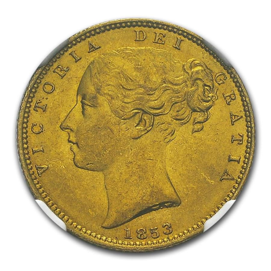1853 Great Britain Gold Sovereign Victoria Shield MS-63