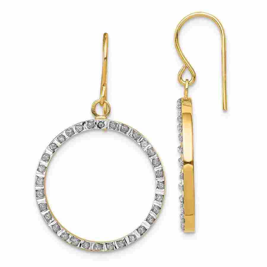 14k Yellow Gold Diamond Open Round Dangle Hoop Earrings