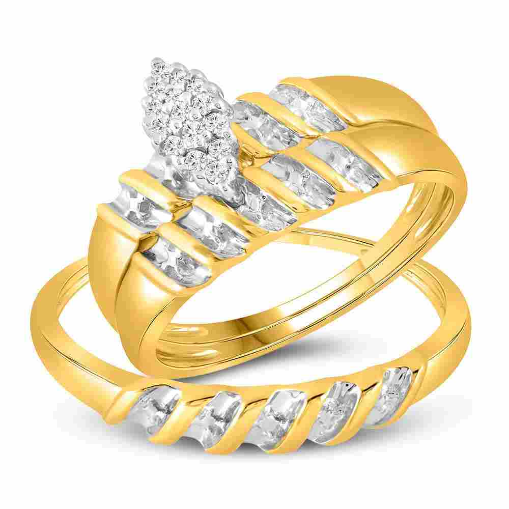 10k Yellow Gold Diamond Marquise-shape Cluster Bridal