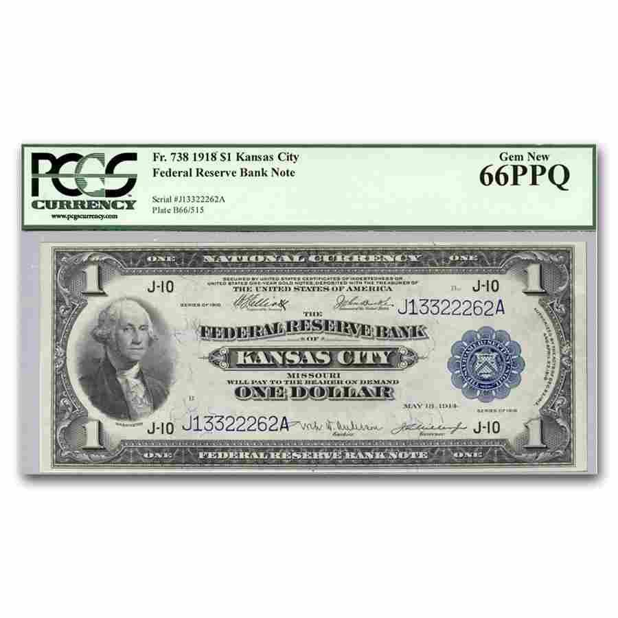 1918 (J-Kansas City) $1.00 FRBN Gem New-66 PPQ PCGS