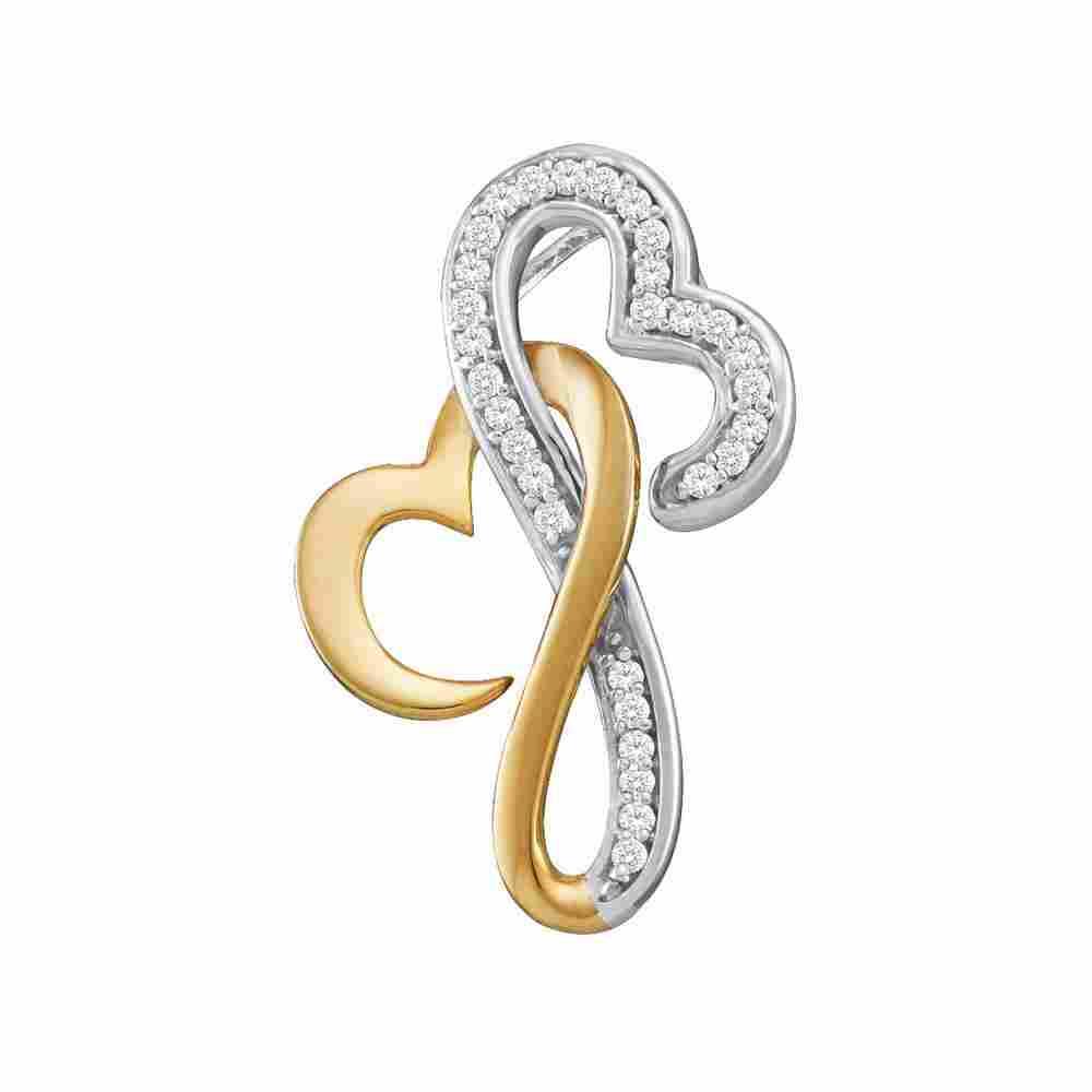 10kt Two-tone Gold Womens Round Diamond Double Locked