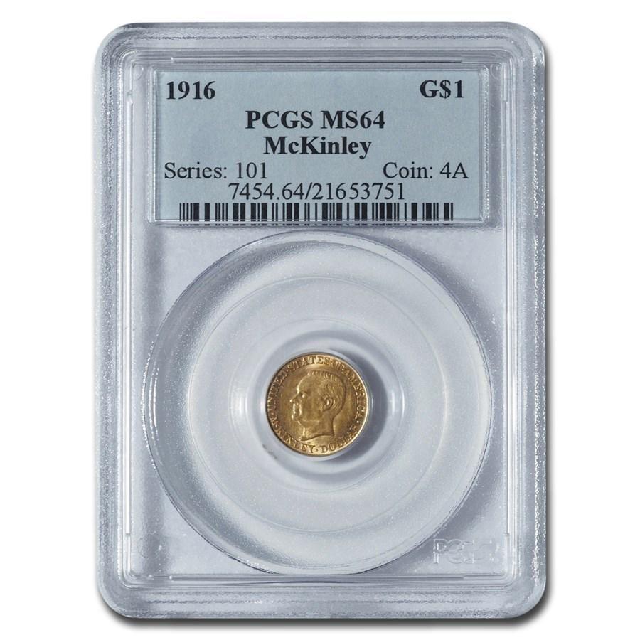 1916 Gold $1.00 McKinley Memorial MS-64 PCGS