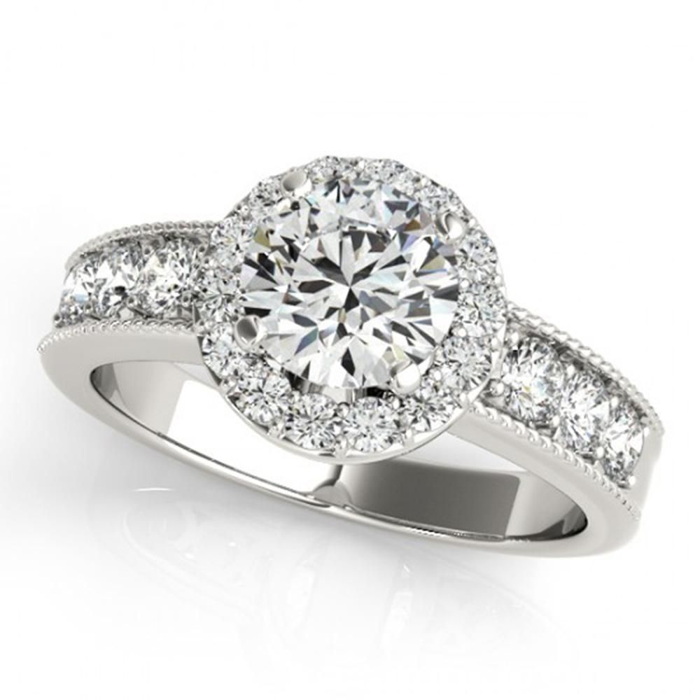 Natural 2.1 ctw Diamond Solitaire Halo Ring 14k White