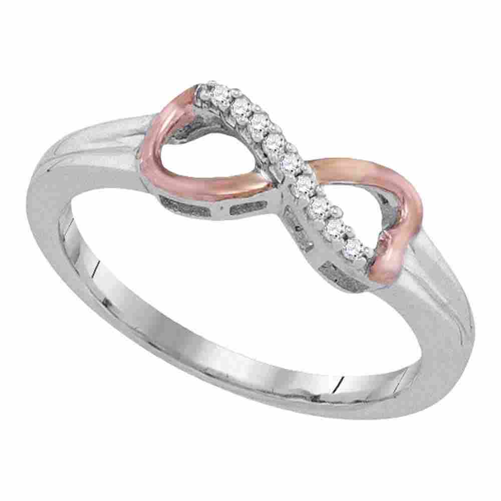 Sterling Silver Womens Round Diamond 2-tone Infinity