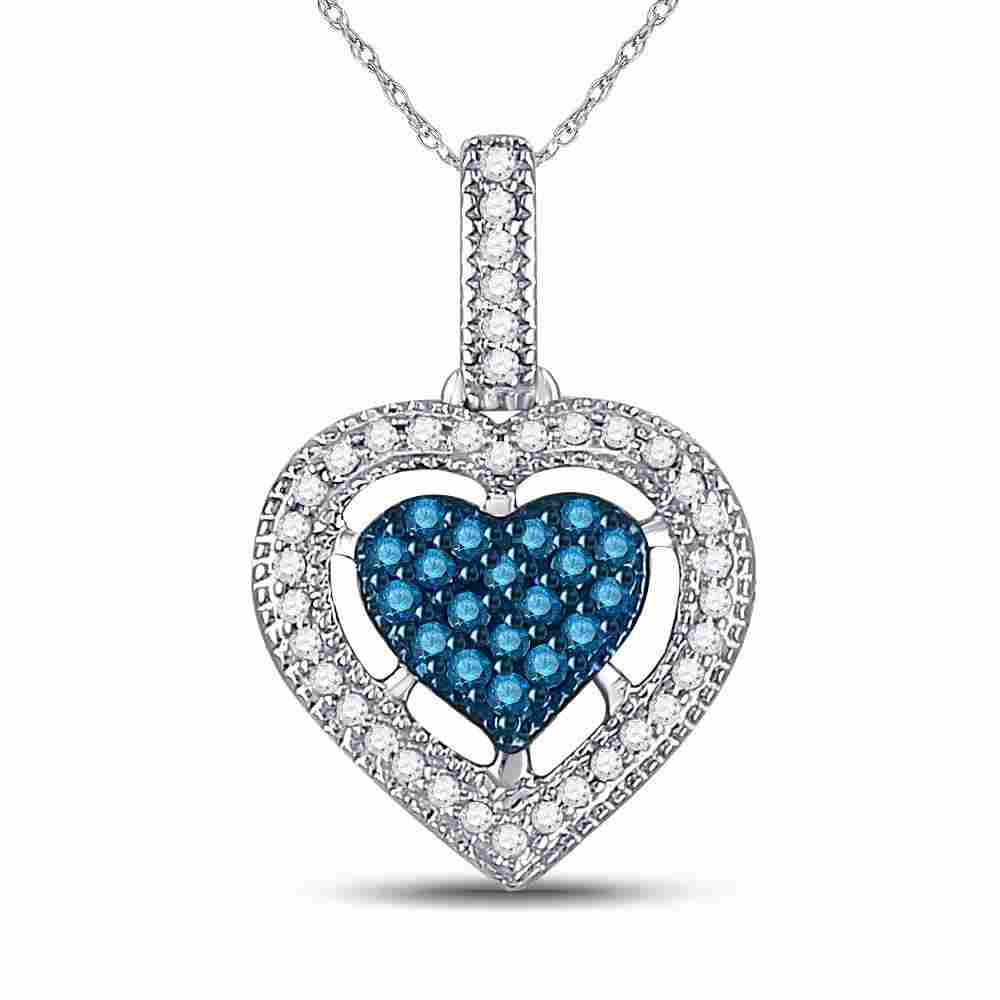 10kt White Gold Womens Round Blue Color Enhanced
