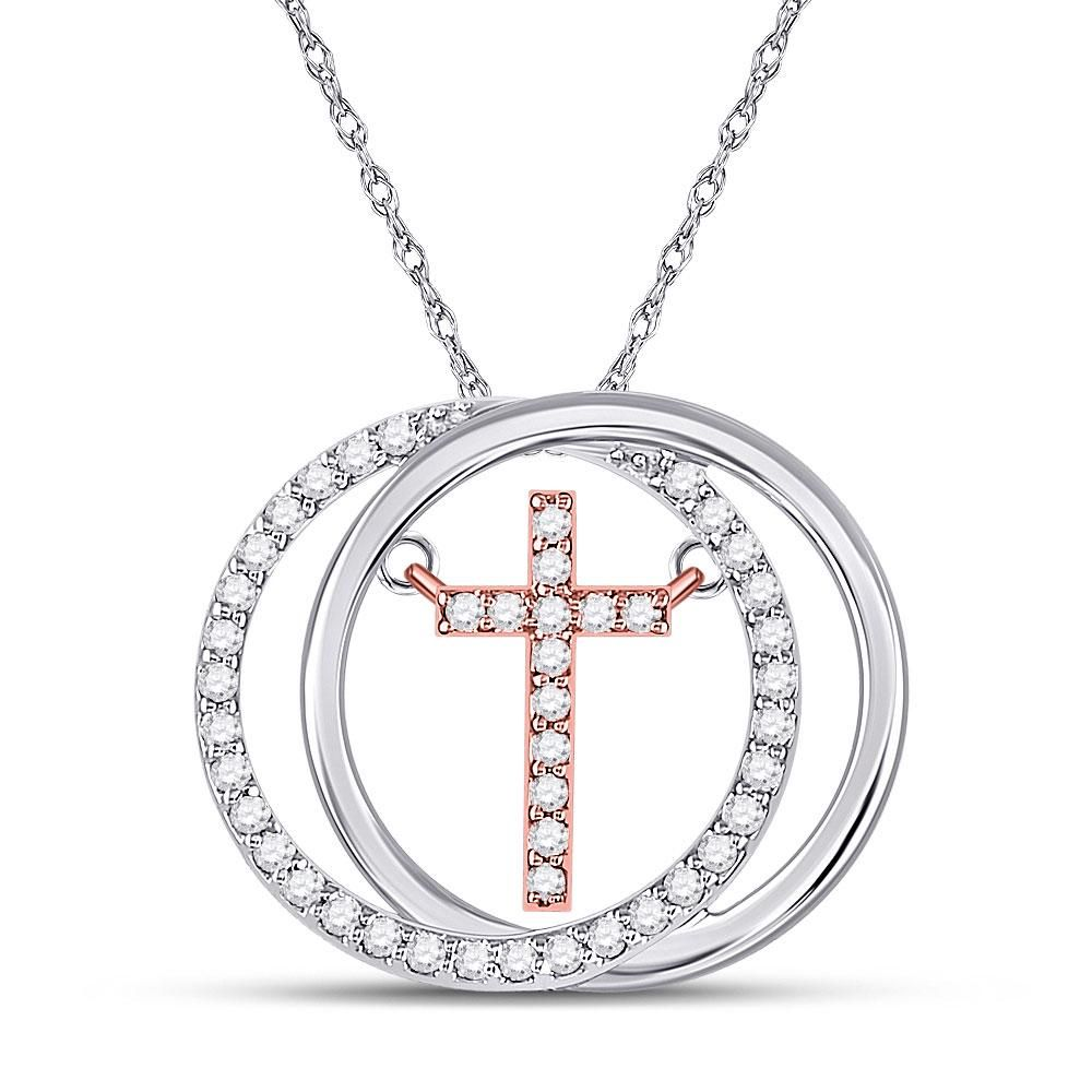 10kt Two-tone Gold Womens Round Diamond Circle Cross