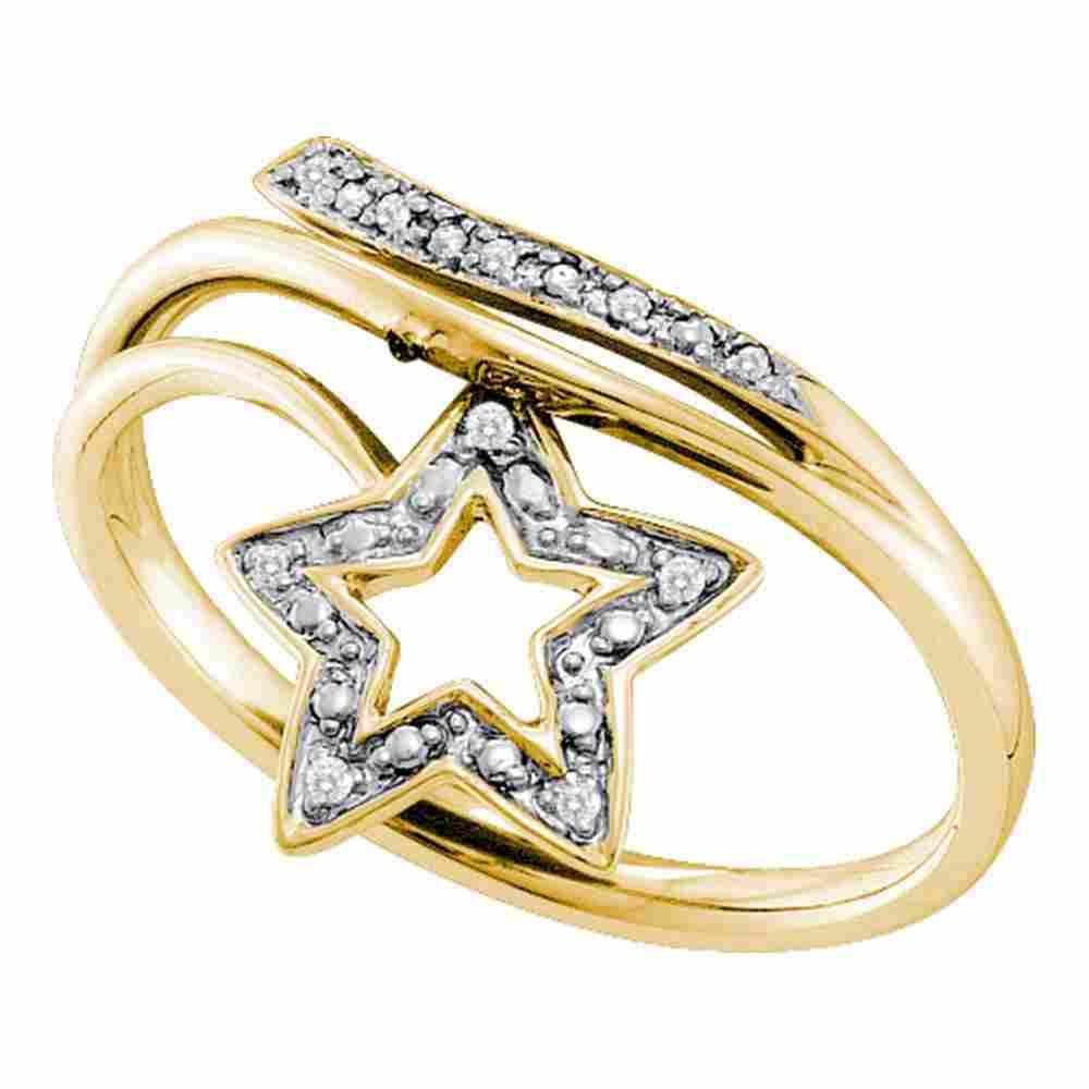 10kt Yellow Gold Womens Round Diamond Star Bypass Band