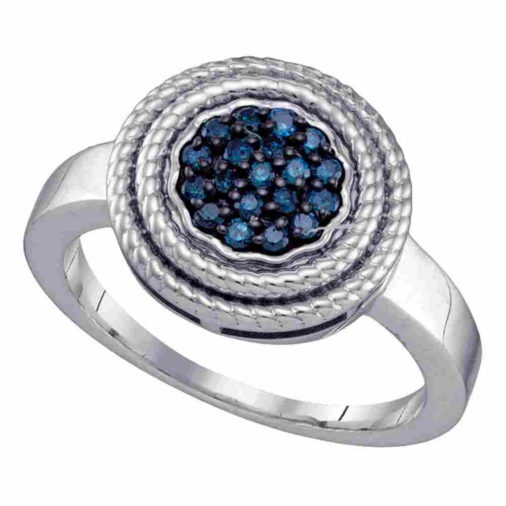Sterling Silver Womens Round Blue Color Enhanced