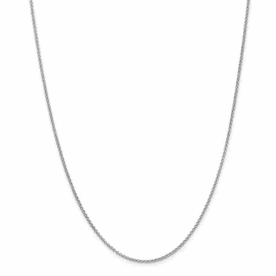 14k White Gold 1.55 mm Rolo Pendant Chain Necklace - 18
