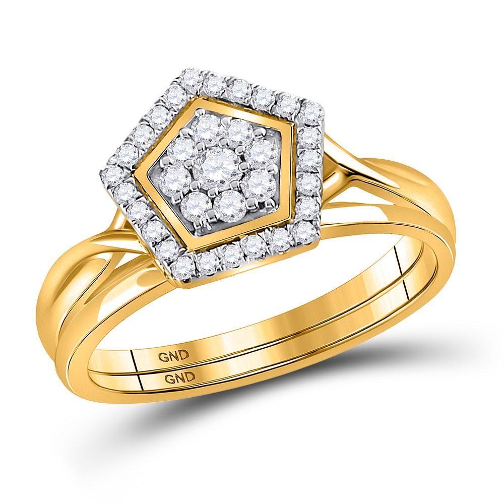 10kt Yellow Gold Round Diamond Bridal Wedding Ring Band