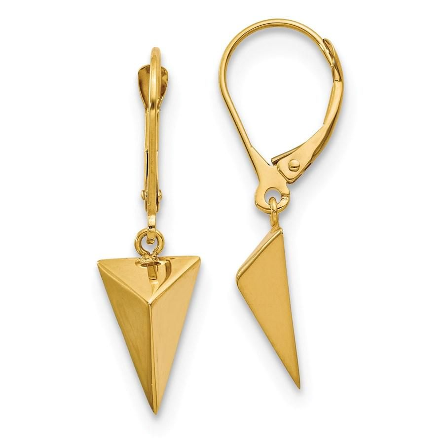 14k Yellow Gold Polished 3D Triangle Leverback Earrings
