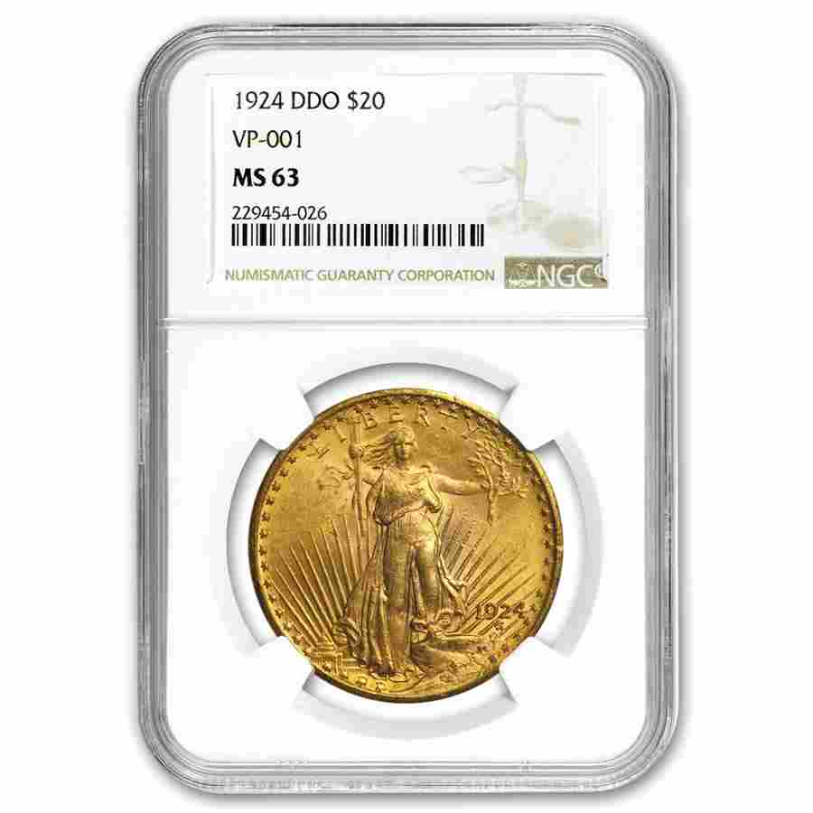 1924 $20 St. Gaudens Gold Double Eagle MS-63 NGC (DDO,