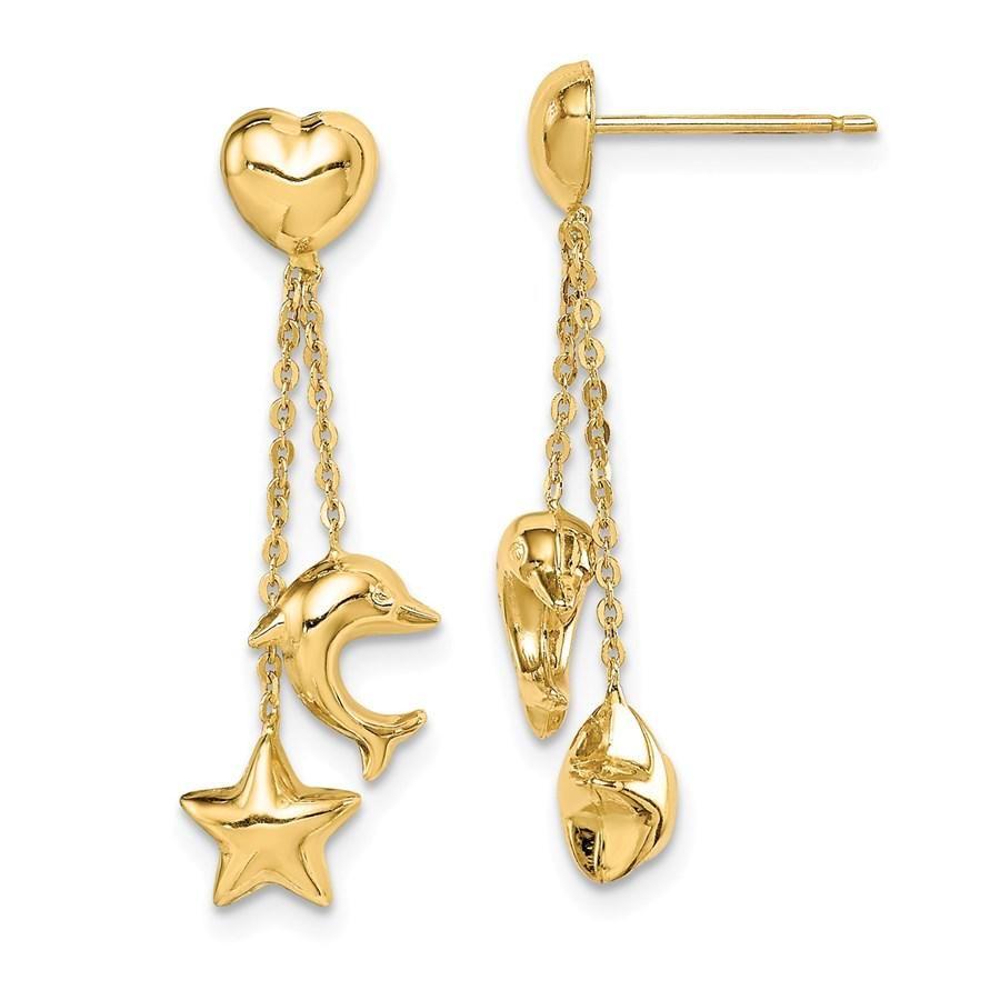 14k Yellow Gold Heart/Star/Dolphin Dangle Post Earrings