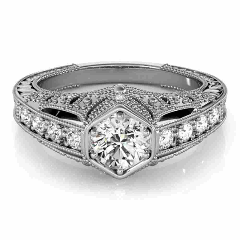 Natural 0.65 ctw Diamond Antique Ring 14k White Gold