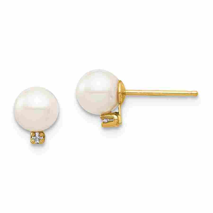 14k Yellow Gold White Round Pearl .02 ct Diamond Post