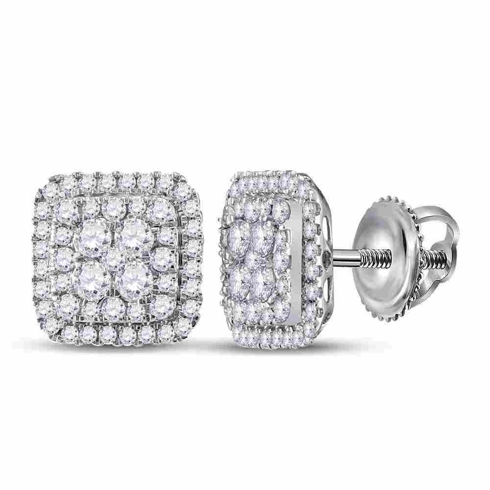 14kt White Gold Womens Round Diamond Cushion Cluster