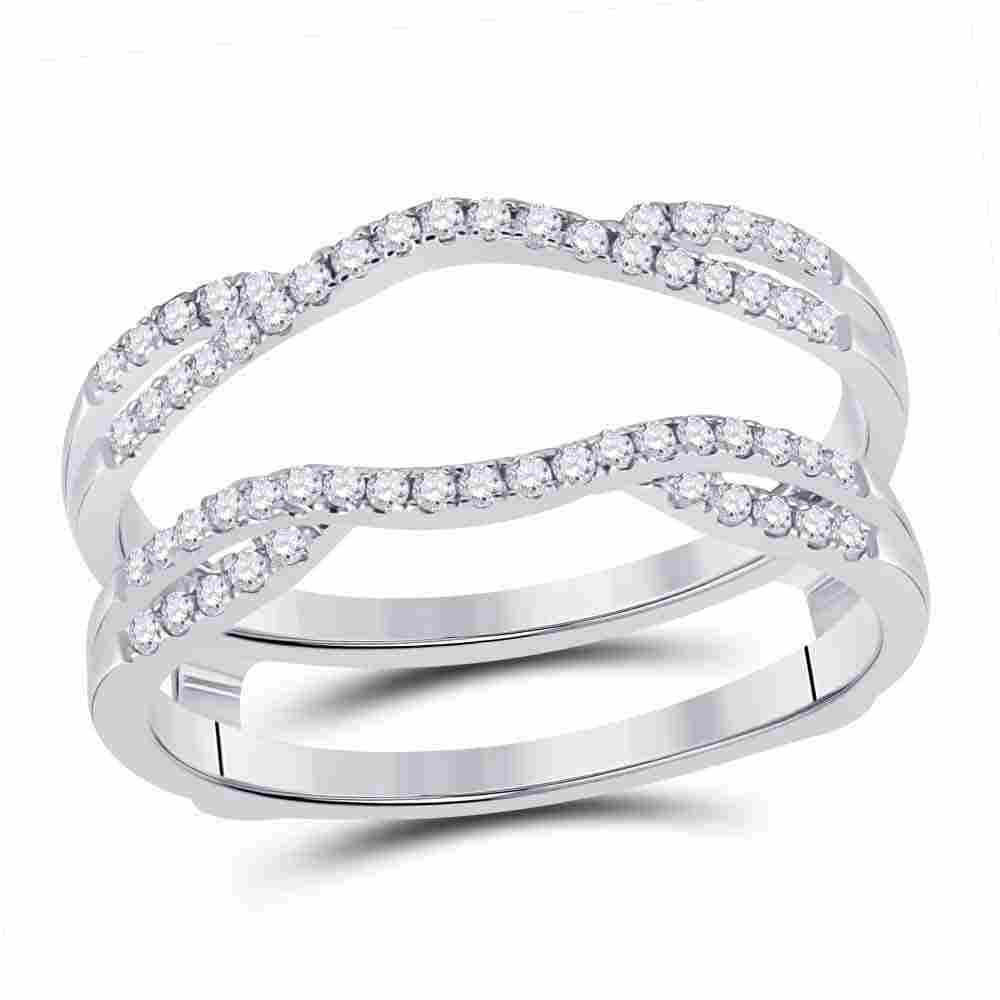 14kt White Gold Womens Round Diamond Solitaire Enhancer