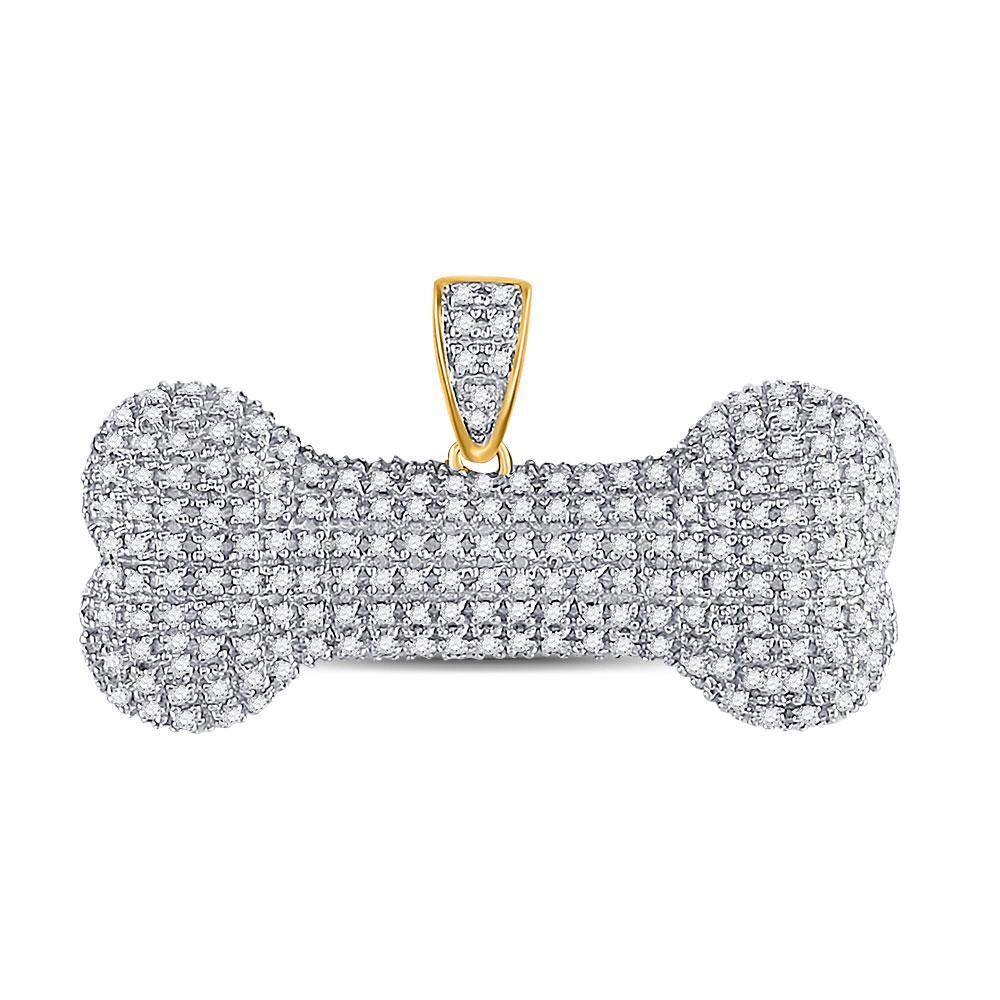 10kt Yellow Gold Mens Round Diamond Dog Bone Charm