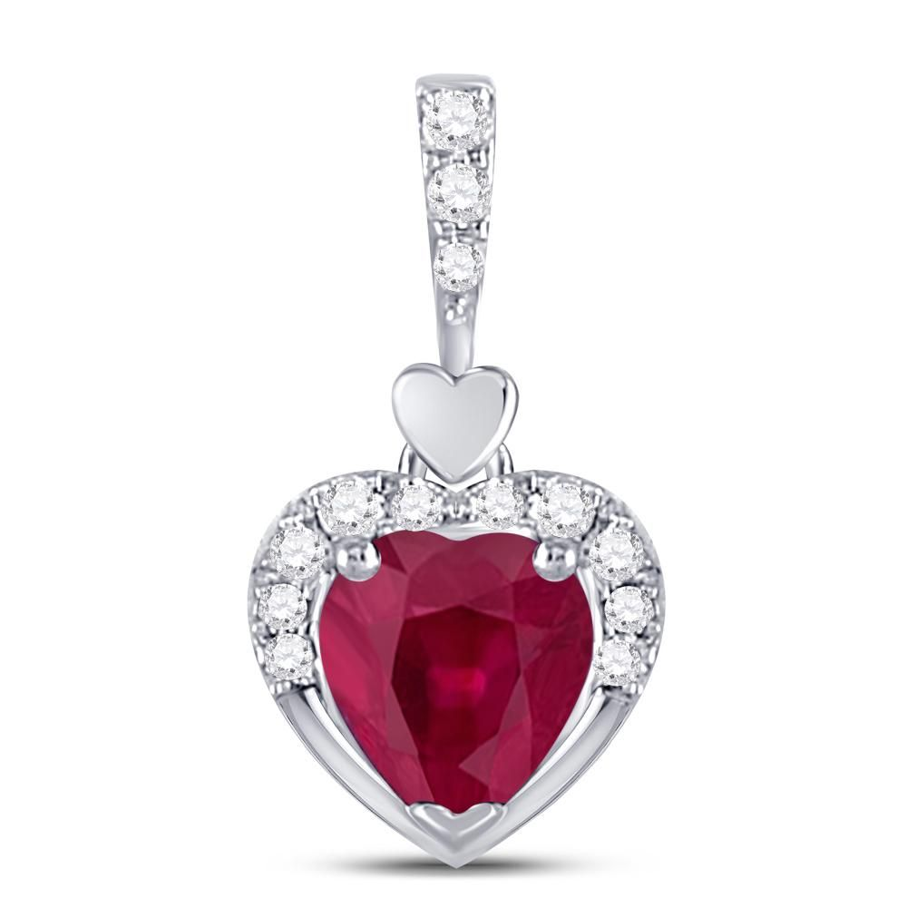 10kt White Gold Womens Heart Lab-Created Ruby Fashion