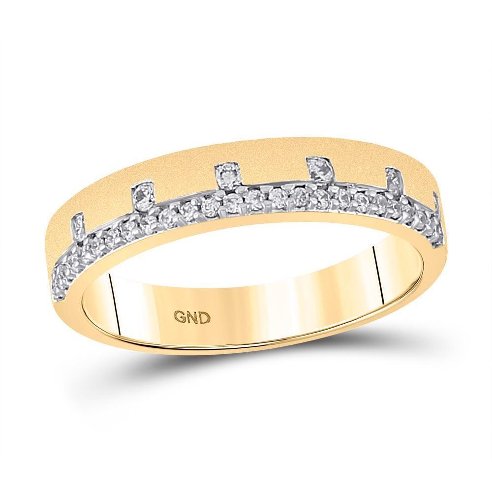 14kt Yellow Gold Womens Round Diamond Band Ring 1/4